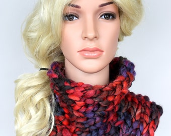 Knit Cowl Knitted Women Scarf Chunky Knit Scarf Red Cowl Scarf Knit Shawl Handknit Scarf Circle Scarf Infinity Scarf Cowl Snood Scarf Gift