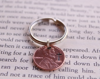 Penny From Heaven Keychain, Pennies From Heaven, Cross Keychain, Engraved Penny Keychain, In Memory Of Gift, Remembrance Gift, Sympathy Gift