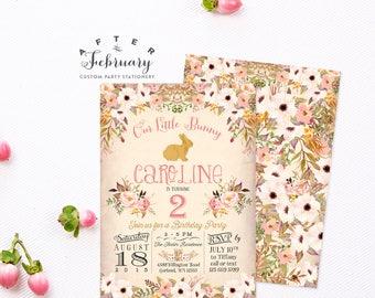 Bunny Birthday Invitation, Easter Birthday Invitation Girl Birthday Invitation, Kids Birthday Watercolor Invitation// Printable No.152KIDS