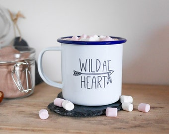 Wild at Heart Enamel Mug; camping, outdoors, adventure, wanderlust, vanlife, home, hot drink, gift idea, drink, travel, summer, fathers day