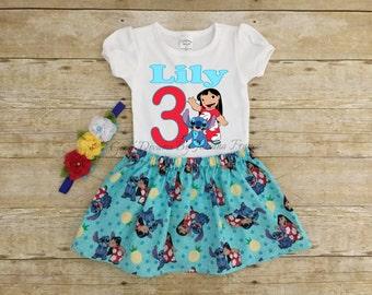 Lilo and Stitch Birthday Outfit, Lilo Tutu, Personalized Lilo and Stitch Outfit, Lilo and Stitch Shirt, Lilo Birthday Shirt, Lilo and Stitch