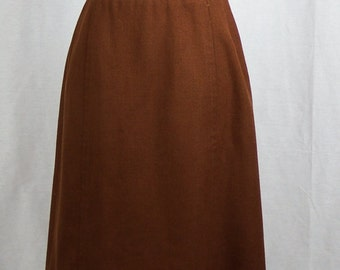 1960s Vintage Womens Brown A-Line Skirt - Beautiful Condition
