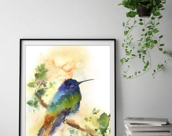 Hummingbird print, watercolor painting of bird, watercolor print, bird poster, Wall Art