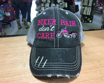 Biker Motorcycle Hair Don't Care Monogrammed Embroidered Distressed Trucker Cap Dark Gray