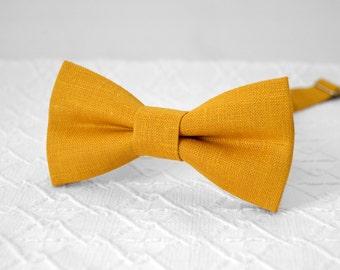 Mustard bow tie, mustard yellow bow tie, orange bow tie, marigold bow tie, gold bow tie, wedding linen mens bow tie, groomsmen bow tie