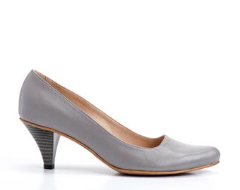 Grey Snake Skin Pattern Leather Shoes / High Heels Women Shoes / Pumps / Evening Shoes / Elegant Summer Shoes / Wedding Shoes  - Thomey
