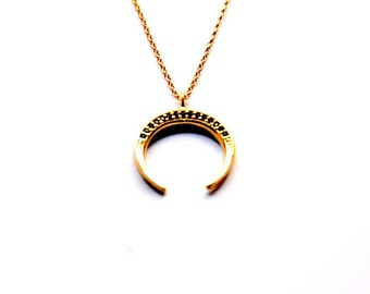 Horn necklace, CZ Horn necklace, CZ Moon necklace, 24k gold plated necklace, Gold Horn pendant, Gold necklace, Cubic Zirconia Horn necklace