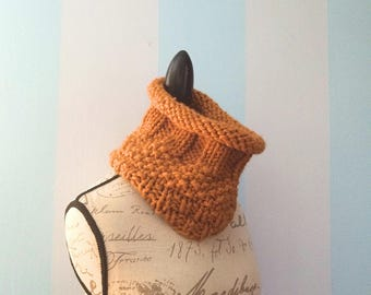 """Chunky Knit Cowl """"Dahlia"""" - Women's Cowls - Neck Warmer - Infinity Scarf - Womens Scarves - Mustard Yellow Cowl - Textured Cowl"""