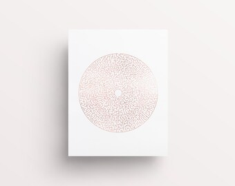 Rose Gold Labyrinth, Rose Gold Map, Rose Gold Office, Rose Gold Decor, Rose Gold Circle, Modern Rose Gold, Trending Now, Fleurt Collective