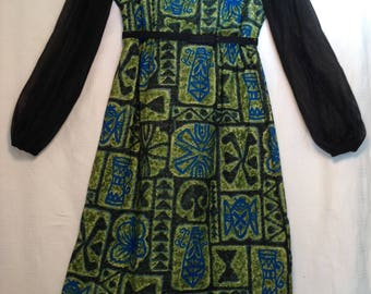 1960's 60s / Vintage Tiki Dress / Made in Hawaii / Sheath/ Plus Size XL Large