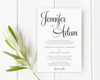 Wedding Invitation, Invitation Suite, Modern, Invitations, Wedding Invite, Printable Wedding Invitation, PDF Invite, The Jennifer Collection