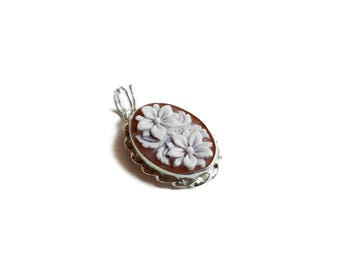 Italian cameo pendant boho flower handmade 925 silver carved sardonyx shell | gift for her | donadio cameo jewelry