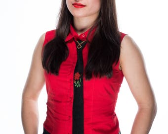 Womens Beaded Tie / Tie necklace / Womens beaded ties / Black womens tie / Beaded tie with rose / Women's tie with rose / Ukrainian gift
