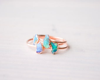 Opal ring - Australian Opal ring - Raw Opal ring - Rough opal ring - Fire opal ring - Rough opal ring - Opal jewelry