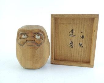 Vintage Daruma doll, Wood carving