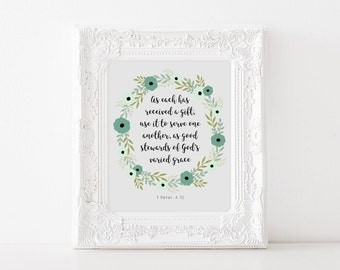 Printable Verse Quotes, Printable Verse Wall Art, Bible Verse Wall Art, Bible Verse Print, Bible Verse Wall Print, 8x10 inches
