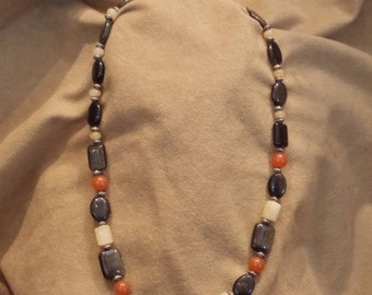 Hand Crafted, One of a Kind, Semi-Precious stones. Eagle-Eye, Yellow Jade, and Orange Jade. Classic and Sophisticated.