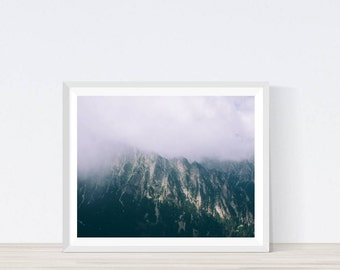 Foggy Mountain, Foggy Mountain Print, Mountain Print, Mountain Photography, Nordic Wall Art, Scandinavian Print, Mountain Decor, #M1