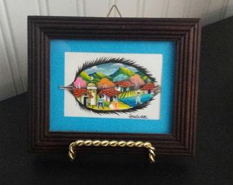 Sale Vintage 1990's Honduras FEATHER ART PAINTING, Feather Decor, Nature Decor, Nature Painting, Village Decor