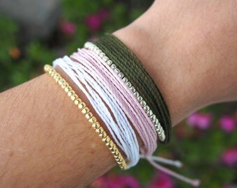 Solid Color Multistrand Waxed Cord Bracelet | Beaded or Plain | Waterproof and Adjustable Pura Vida Inspired Bracelet