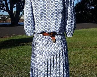 Vintage Blue Dress, Vintage Print Dress, Australian Vintage Dress, 80's Dress, 80's Print Dress