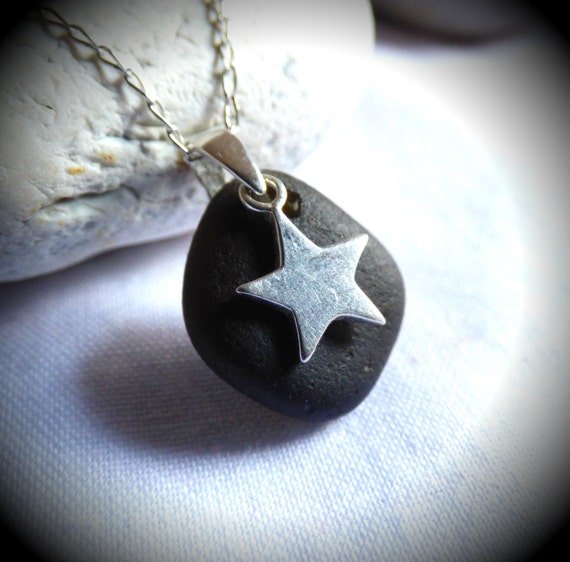 Black Sea Glass, Sea Glass Pendant, Star Pendant, Sterling Silver Star, Sea Glass Jewellery, Sea Glass Star, Goth Pendant, Black - PG16004