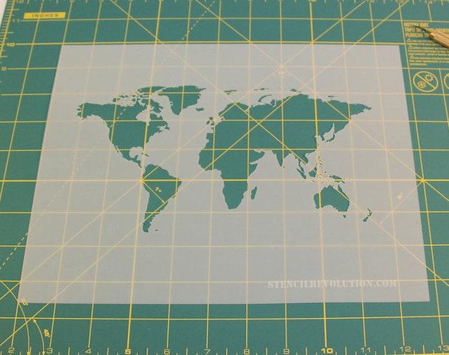World Map Stencil Reusable DIY Craft Stencils of a by StencilRev
