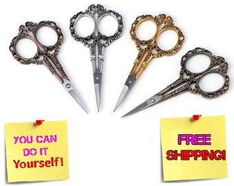 Sewing Scissors, Vintage Scissors, Floral Scissors, Fabric Sewing, Sewing Pattern, Sewing Supplies, Floral Pattern, Antique Pattern - SALE!