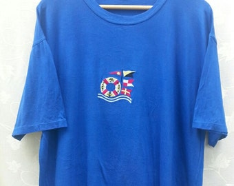 Vintage 80's/90's PIERRE BALMAIN// France Fashion//Embroidered Color Logo// Blue T-Shirt size 50// Made in Italy