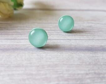 Mint green earrings, Mint earrings minimalist, Mint stud earrings, Gifts for friends women, Summer earrings, Cute stud earrings, Mint studs
