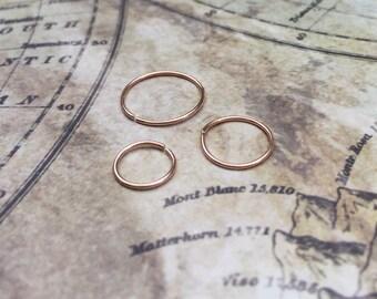 Rose gold nose ring, 6mm Hoop earrings, Small cartilage earrings, Rose gold septum ring, 8mm gold hoop earrings 14k nose hoop, 10mm 20g