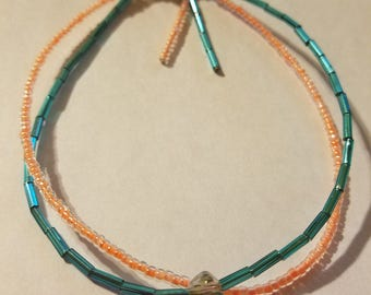 Gorgeous Blue and Coral Beaded Anklet with Small Jewel, Handmade in Hawaii