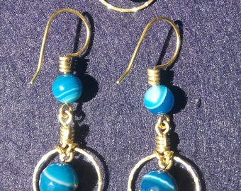 Blue agate and brass