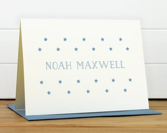 Personalized Stationery Set / Personalized Stationary Set - GALAXY Custom Personalized Note Card Set - Star Baby Children Little Boy