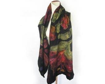 Felted Shawl, Felt Scarf, Black Scarf, Felted Wrap, Wool Scarf, Floral Shawl, Evening Scarf, Floral Scarf, Spring Scarf, Wool Shawl, Gift