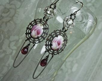 Vintage Assemblage Rose & Rhinestone Earrings