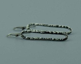 Minimalist Earrings - Oxidized Silver Earrings - Hammered Silver Earrings - Silver Earrings