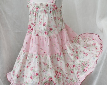 Pink Rose Ruffled Toddler Dress Floral Toddler Girl Summer Dress Little Girl Pink Dress Twirl Dress Cotton Party Dress Size 12 18m 2t 3t 4t