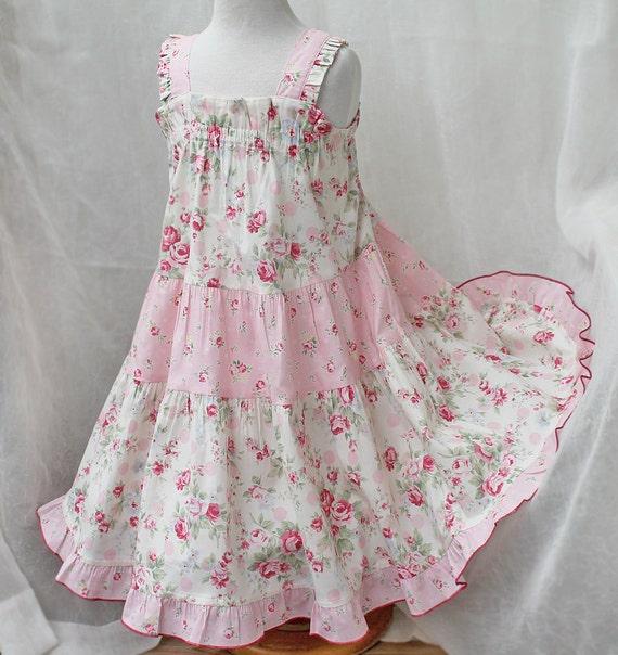 Ruffled Toddler Dress Floral Toddler Girl Dress Little Girl Pink Dress Twirl Dress Cotton Pink Rose Party Dress Size 12 18m 2t 3t 4t 5 6
