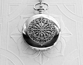 Pocket Watch Necklace Silver Victorian Art Nouveau Filigree Mandala Edwardian Locket Watch Pendant Wedding Birthday Anniversary Woman's Gift