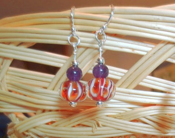 Clemson Colors Earrings, Natural Amethyst and Orange Striped Lampwork Beads, All Sterling Silver Earrings, Orange and Purple Earrings