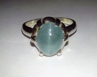 Stunning Natural Cat's Eye Aquamarine In Sterling Silver Cocktail Ring, 5.14ct. Size 7.75