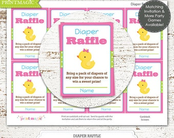 Pink Rubber Duck Diaper Raffle Printable Baby Shower Game - Instant Download - Girl Baby Shower Game - Duck Baby Shower Game