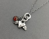 Sterling Silver Heart Necklace, Garnet Necklace, Artisan Jewelry, Charm Necklace, Heart Jewelry, Under 50, Gifts for Her