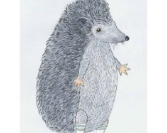 Hedgehog Art Print, Hedgehog Art, Hedgehog Drawing, Animal Art Print, Nursery Art, Children Wall Decor, Nursery Gift, Art for Children