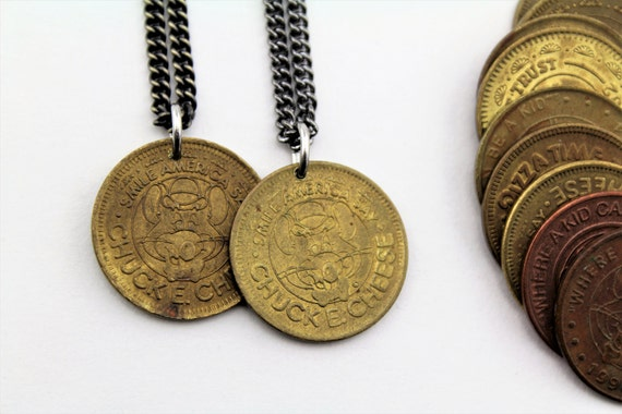 Vintage Chuck E. Cheese TOKEN Necklace! - 1980's - Free Shipping - Arcade - Gamer - Childhood - Pizza - LIMITED QUANTITY