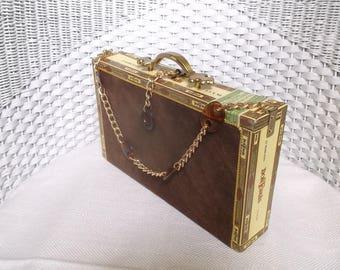 Cigar Box Purse, handmade purse,  wood handbag, brown, gold, evening bag, one of a kind purse, cigar, gift for her, box purse, cigar box