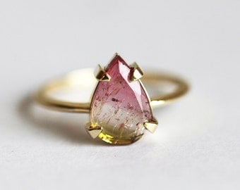 Solitaire Watermelon tourmaline Ring, Tourmaline Slice Ring, Green Tourmaline Ring, Pink Tourmaline Ring, One Of a Kind Ring, Unique Ring