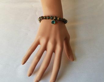 Aqua Beaded Bracelet/ Aqua Charm Bracelet