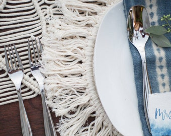 Set of 4 - Boho cotton corded fringed placemats